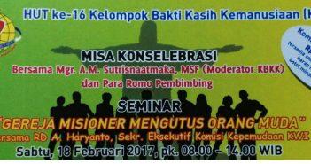 """Poster seminar """"Gereja Misioner Mengutus Orang Muda"""" di acara HUT ke-16 tahun KBKK tahun 2017 di Aula St. Ursula Jl Pos Jakarta, Sabtu tanggal 18 Februari 2017. (Ist)"""